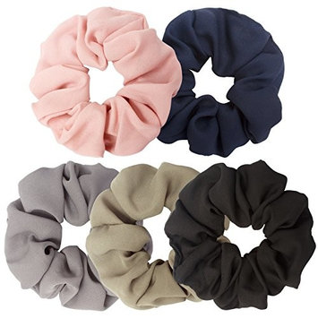 AOPRIE 5 Pack Hair Scrunchies Retro hair band Cotton Scrunchie Set Vintage Hair Bands Ties for Women Girls,5 colors