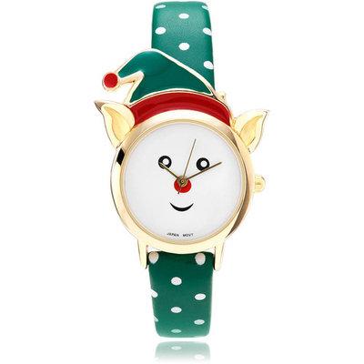 Brinley Co. Women's Elf Head Leather Strap Fashion Watch, Green/G