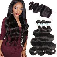 ANNELBEL Brazilian Virgin Hair Body Wave With Lace Closure 7A Unprocessed Virgin Human Hair Bundles With Closure Free Part 14 16 18 with 14 Body...