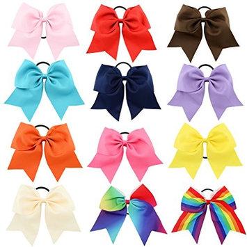 Tobatoba 12Pcs 8'' Large Cheer Hair Bows Ponytail Holder Elastic Hair Ties Hair Bows For Girls Kids Children Women Solid Ribbon Head Wear Accessory