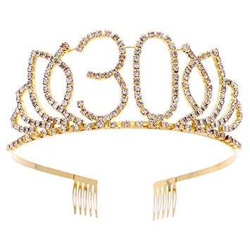 Frcolor 30th Birthday Tiara Crystal Rhinestone Women 30th Birthday Crown with Combs (G