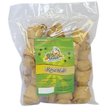 Mr Bites 4-Inch Rawhide Bone for Dogs, Chicken Flavor, 12-Pack
