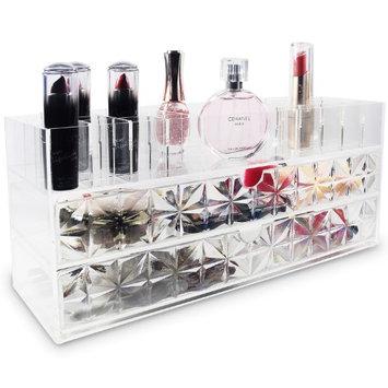 Ikee Design Acrylic Makeup Organizer Lipstick Case with Diamond Pattern Drawers