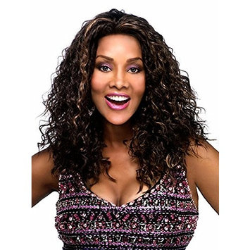 AmorWig Fashion Long Curly Wig--Layered Dark Brown Hair Synthetic Hair Wigs for Women + Wig Cap