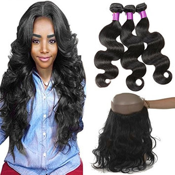 CUTE HAIR Brazilian Virgin Hair Body Wave With 360 Lace Frontal 3Bundles Body Wave Hair Weft With 360 Lace Frontal 8A Brazilian Human Hair Weaves With Frontal(12 14 16 with 12, Natural Color)