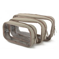 Packies Zip Top Packing Cubes / Cosmetic Bags - Taupe - Set of 3 (Microfiber - Small)