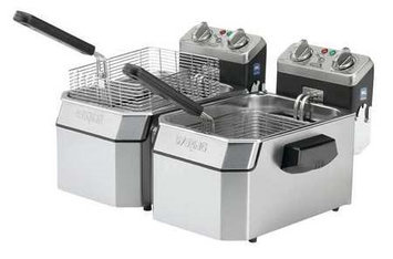 WARING COMMERCIAL WDF1000BD Double Electric Fryer,208V,20 Lb
