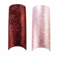 Bundle - 3 Items : Cala X2 Pack of 100 Red & Ice Pink Glitter Professional Nail Tips (87825,87824) + Aviva Nail Kit