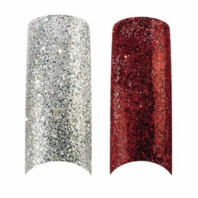 Bundle - 3 Items : Cala X2 Pack of 100 Silver & Red Glitter Professional Nail Tips (87821,87825) + Aviva Nail Kit
