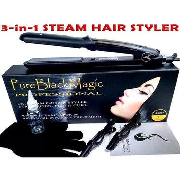 Steam Ceramic Hair Straightener Flat Iron - Professional Hair Salon Steam Styler Ionic Steamer 3-in-1 | Straightner Curler Flip-up | For Argan Oil Hair Treatment Vapor | PureBlackMagic by TRENDY PRO