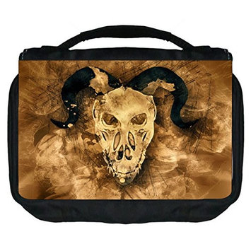 Demon Skull Rosie Parker Inc. TM Small Travel Sized Hanging Cosmetic/Toiletry Case with 3 Compartments and Detachable Hanger-Made in the U.S.A.