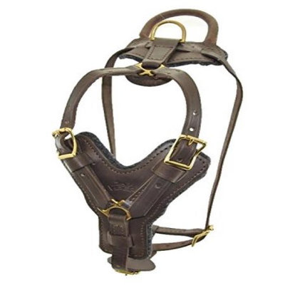 Viper V3002-6 21-30 N x 32-40 G inch Typhoon Leather Working Dog Harness, Brown