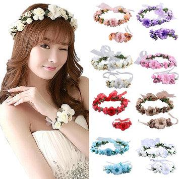 Coxeer Flower Crown Wedding Hair Wreath Floral Headband Garland Wrist Band Set