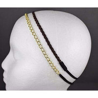 Gold chain link headband Dark Brown faux leather braid thin skinny narrow 2 pack