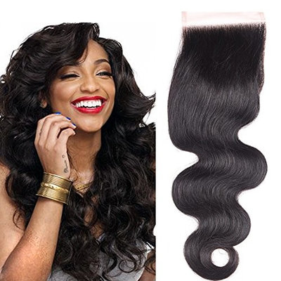Indian Body Wave Lace Closure With Baby Hair Bleached Knots 100% Indian Remy Hair 4x4 Virgin Human Hair Lace Closure Free Part Natural Color Puromi Hair(18 free part)