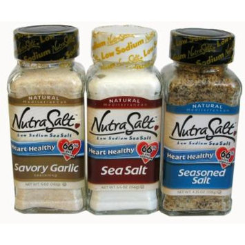 Nutrasalt Low Sodium Classic Blends Variety Pack of 3 Flavors (Sea Salt, Seasoned Salt and Savory Garlic), 6-Count Package