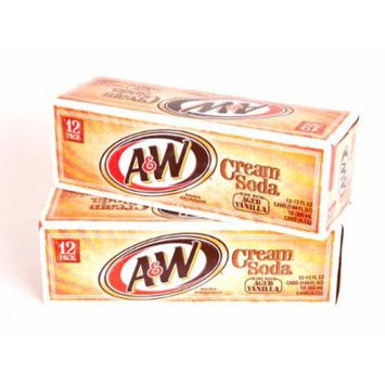 A&W Vanilla Crème Soda, 12 oz Can (Pack of 24)