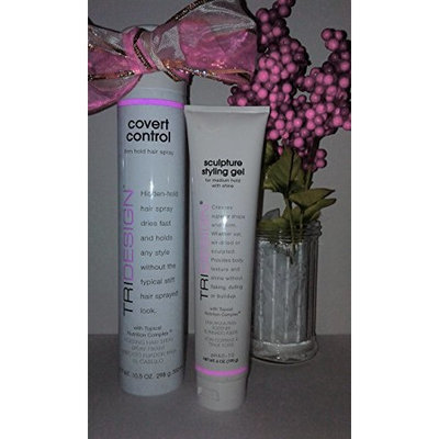 (1) TriDesign covert Contol Firm Hold Hairspray - 10.5 oz & (1) TriDesign Sculpture Styling Gel - 6 oz - Great Holiday Set!: Beauty