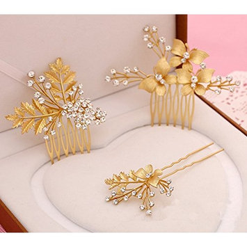Meiysh Women's Gold Plated Hairpin Bridal Barrette Headpiece Hair Stick Ornaments Comb(3 pcs)