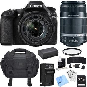 Canon EOS 80D CMOS DSLR Camera w/ EF-S 18-135mm Lens + 55-250mm Telephoto Lens Bundle