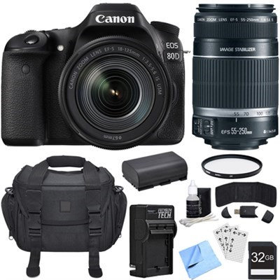 Canon EOS 80D CMOS DSLR Camera w/ EF-S 18-135mm Lens + 55-250mm Telephoto Lens Bundle