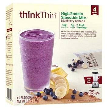 thinkThin® Blueberry Banana High Protein Smoothie Mix - 4 Count