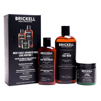 Brickell Men's Daily Advanced Face Care Routine I - Gel Facial Cleanser Wash + Face Scrub + Face Moisturizer Lotion - Natural & Organic - Unscented [Unscented]
