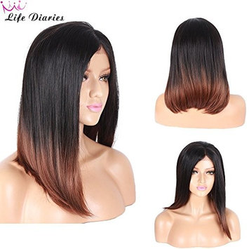 Life Diaries Synthetic Lace Front Wigs Bleached Knot Short Bob Straight Black&Brown Heat Resistant Synthetic Wigs For Women(16