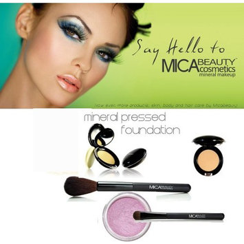 Mica Beauty Mineral Pressed Foundation Color: MP9 Chocolate Kisses + 2 Brushes + Eye Shimmer #25 Orchid 1.75 Grams + A-viva Nail Kit