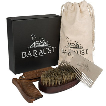 Baraust Beard Grooming Kit For Man Care - Beard Bush, Beard Folding Comb and Beard Wallet Comb - Beard Set - Highly resistant - Beard Brush and Comb Set For Man Gift - Ads Shine and Softness
