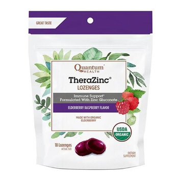 Quantum 231739 18 Count Thera Zinc Elderberry Lozenges Raspberry Flavored Bag