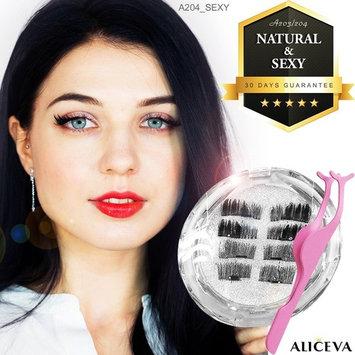 Aliceva Magnetic Eyelashes x8 [Natural & Sexy] with Premium Metal Eyelash Tweezers - Best 2 style 3D False Reusable Eyelash 8 piece + Magnet Dot Case [A203/204]