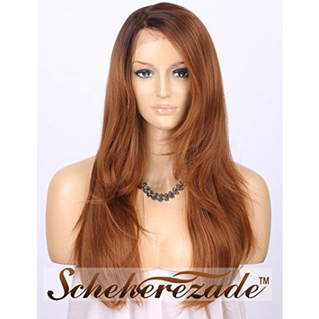 Scheherezade L Shape Deep Part Lace Front Wigs Brown, Long Natural Straight 18 inch Glueless Synthetic Wigs Ombre Dark Brown Roots to Light Brown Hair Wig #4/30 Right Side Parting (LDSL500)