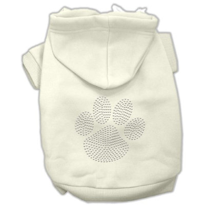 Mirage Pet Products 5455 SMCR Clear Rhinestone Paw Hoodies Cream S 10