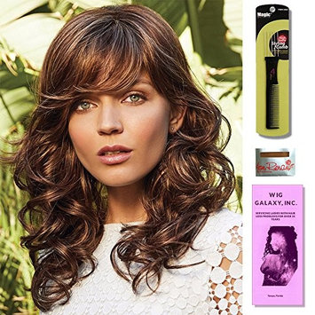 Brittany by Amore Wigs, Wig Cap Liner, Wig Comb and Wig Galaxy Booklet. (4- Item Bundle)