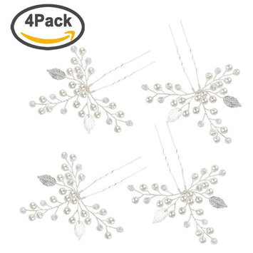 Ondder Wedding Bridal Hair Pins 4 Pack Crystal Pearls Leaf Hair Pin Hairpieces for Women and Girls, Silver