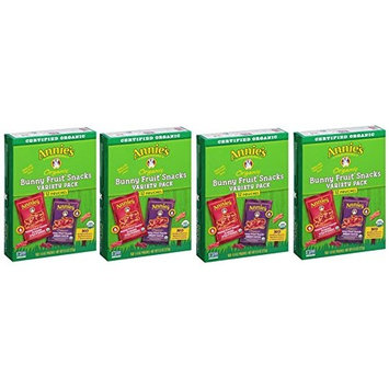 Annie's Organic Bunny Fruit Snacks, Variety Pack, 4 Pack (12 Pouches, 9.6 oz Box)