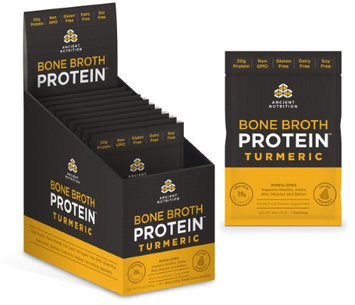 Ancient Nutrition Bone Broth Protein Powder - Turmeric - 15 Packets - Gut Friendly