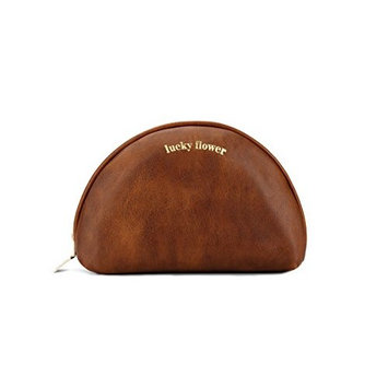 Makeup Bag Leather Travel Portable Cosmetic Bags for Purse (Medium) (Brown)