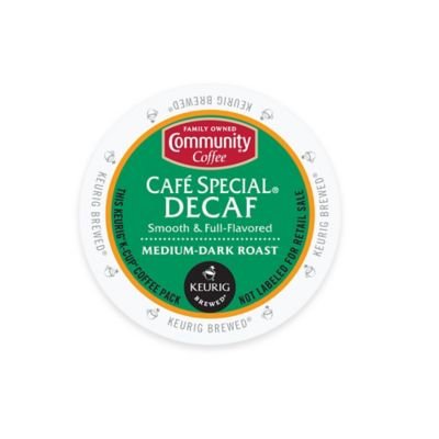 Community Coffee Cafe Special Decaf Medium-Dark Roast Coffee K-Cup Pods, .38 oz, 18 count