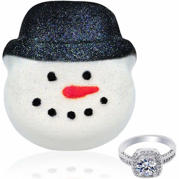 Snowman Bath Bombs with Rings Inside Made in USA Bath Fizzies Surprise Size Ring