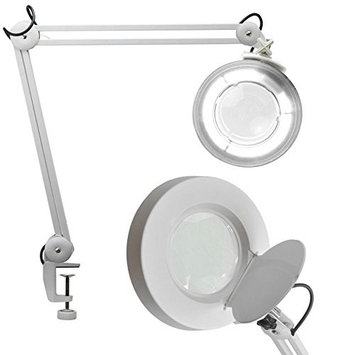 Danyelbeauty 5X Desk Table Clamp Mount Magnifier Lamp Light Magnifying Glass Lens Diopter