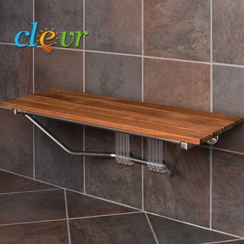 Clevr 36 Upgraded Double Seat Folding Shower Bench Teak Wood Modern Finished Chrome
