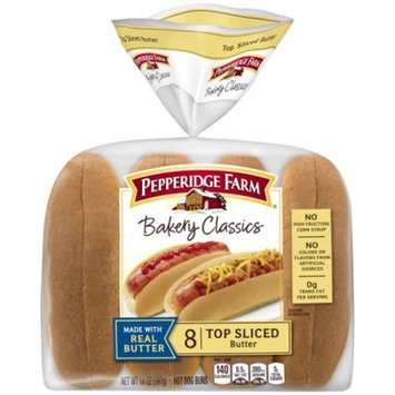 Pepperidge Farm Bakery Classics Top Sliced Butter Hot Dog Buns, 14 oz. Bag, 8-pack