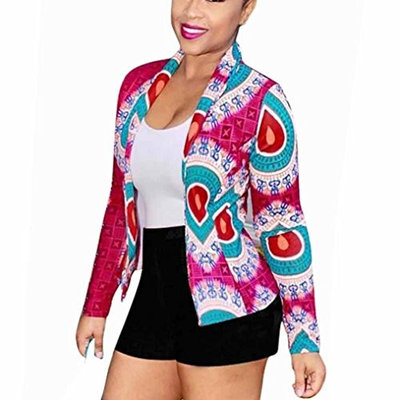 Women Dashiki Long Sleeve Fashion African Print Dashiki Short Casual Open Front Jacket