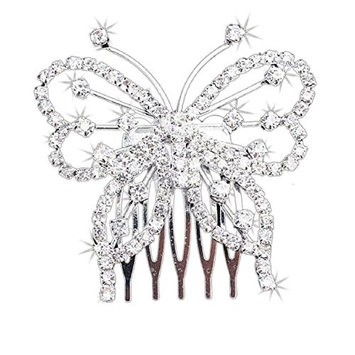 Doinshop New Cute Nice Funny Women Elegant Butterfly Crystal Rhinestone Hair Comb Clip