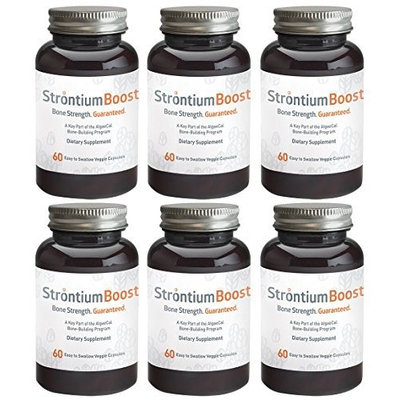 Algaecal Natural Strontium Citrate Supplement - Strontium Boost (60 Capsules) - All-Natural Ingredients & Scientifically Proven To Support Bone Density Improvement - Easy To Swallow Veggie Capsules (6 Bottles)