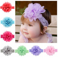 (12Pcs/4.3in)Lace Flower Headbands,Coxeer Ribbon Hair Clips Hair Accessories for Baby Girls Kids Toddlers Children