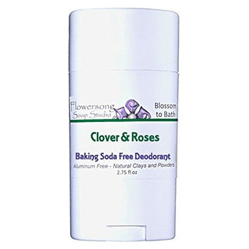 Flowersong Clover & Roses Baking Soda Free Deodorant - Aluminum Free - Natural Clays and Powders