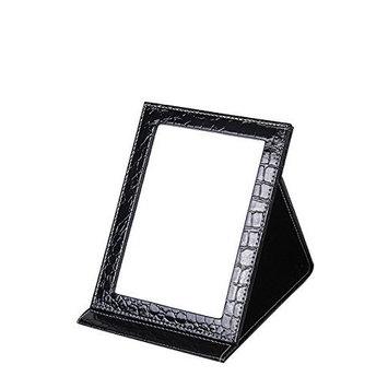 Healthcom Portable Travel Mirrors Folding Tabletop Makeup Mirror,PU,Black,Large